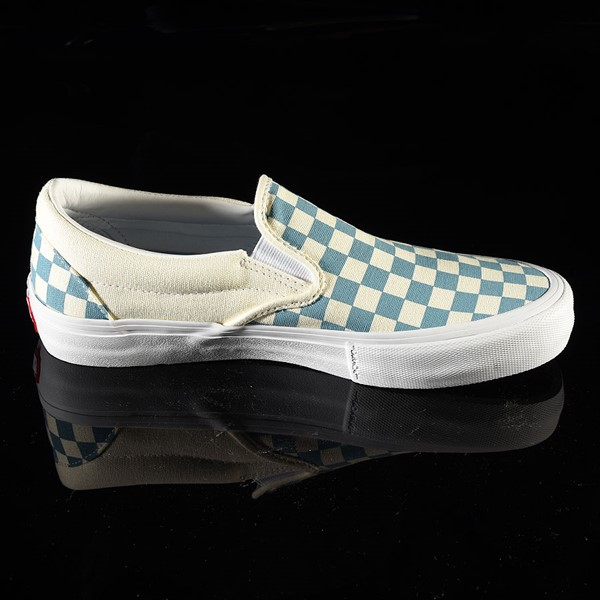 Vans Slip On Pro Shoes Adriatic Blue, White Checkerboard Rotate 3 O'Clock