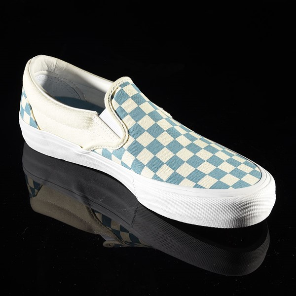 Vans Slip On Pro Shoes Adriatic Blue, White Checkerboard Rotate 4:30