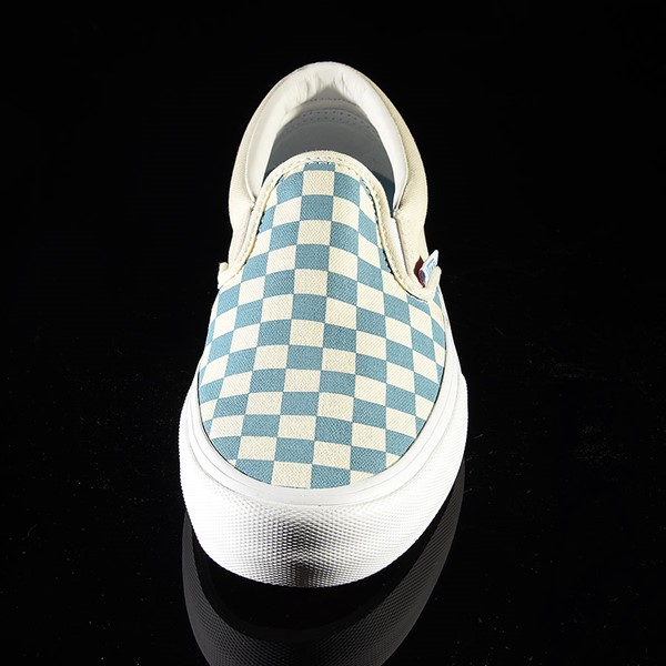 Vans Slip On Pro Shoes Adriatic Blue, White Checkerboard Rotate 6 O'Clock