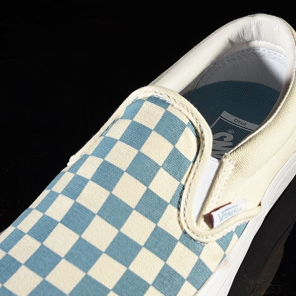 Vans Slip On Pro Shoes Adriatic Blue, White Checkerboard Tongue