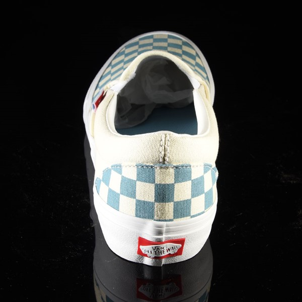 Vans Slip On Pro Shoes Adriatic Blue, White Checkerboard Rotate 12 O'Clock