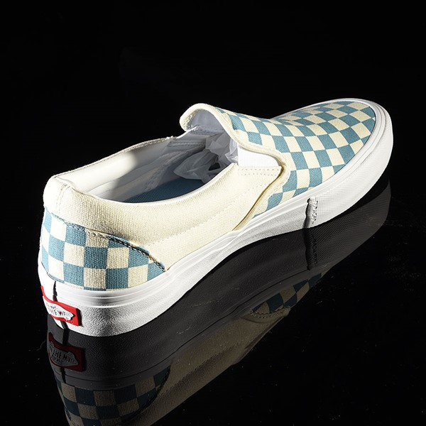 Vans Slip On Pro Shoes Adriatic Blue, White Checkerboard Rotate 1:30