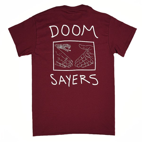 Doom Sayers Snake Shake T Shirt Burgundy Back.