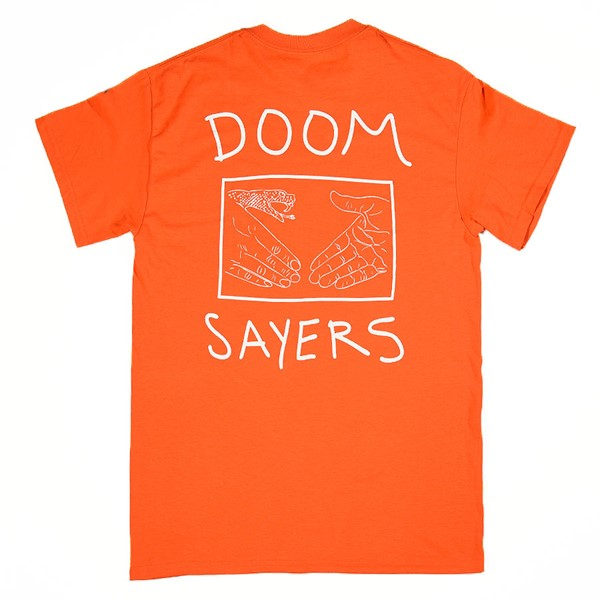 Doom Sayers Snake Shake T Shirt Orange Back.