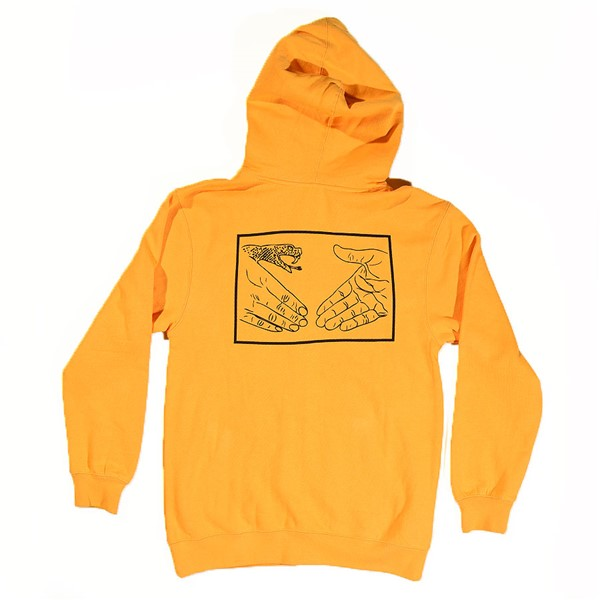 Doom Sayers Snake Shake Zip Up Hoodie Mustard Back.