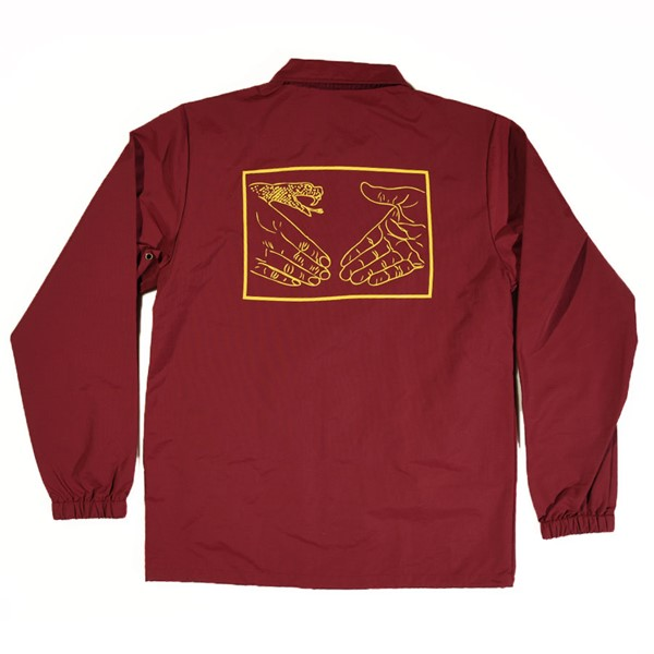 Doom Sayers Snake Shake 2 Coaches Jacket Burgundy Back.