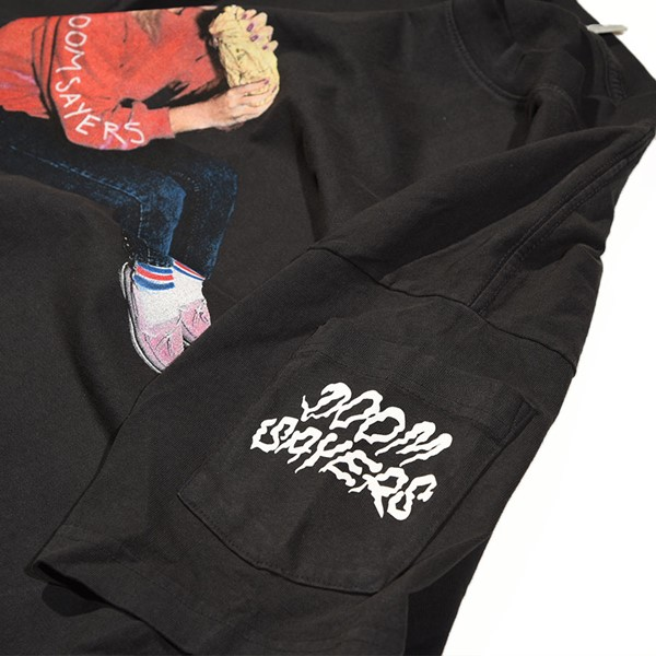 Doom Sayers Becky Dean Pocket T Shirt Washed Black Pocket.