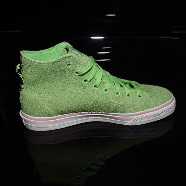 adidas Nizza Hi RF Shoes Spring Green, Cloud White, Light Pink Rotate 3 O'Clock