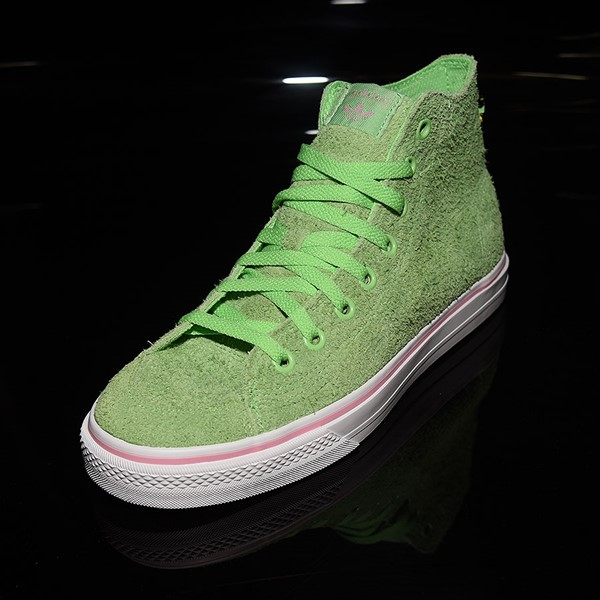 adidas Nizza Hi RF Shoes Spring Green, Cloud White, Light Pink Rotate 7:30