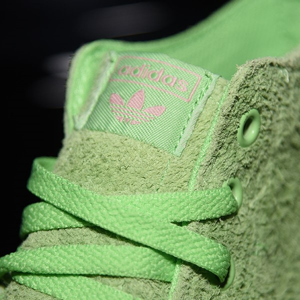adidas Nizza Hi RF Shoes Spring Green, Cloud White, Light Pink Tongue