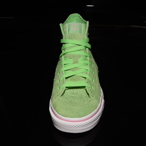 adidas Nizza Hi RF Shoes Spring Green, Cloud White, Light Pink Rotate 6 O'Clock