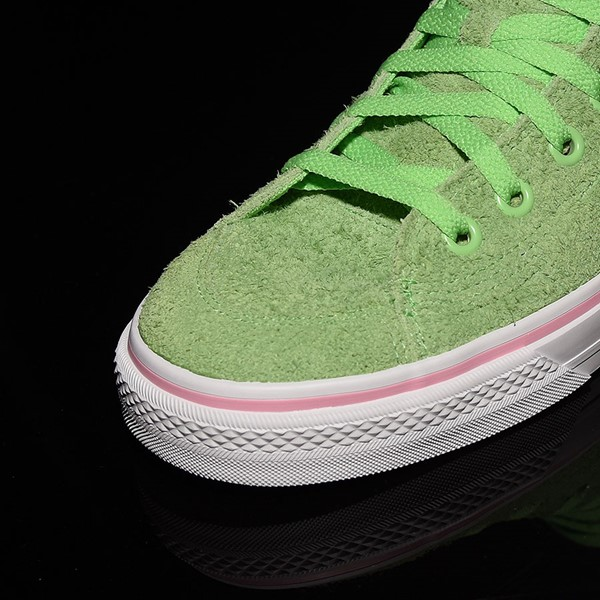 adidas Nizza Hi RF Shoes Spring Green, Cloud White, Light Pink Closeup